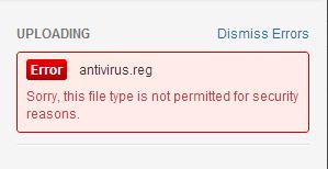 .reg 因為不在支援之列所以出現 error