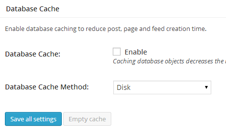 W3TC General Settings Database Cache