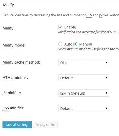 W3TC General Settings Minify