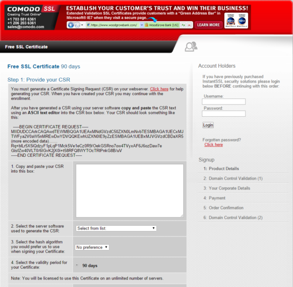 COMODO SSL 90 day apply page