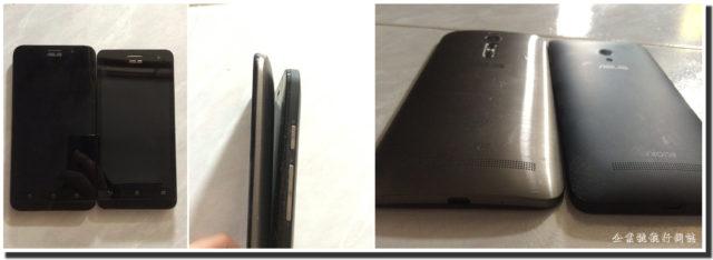 和 Zenfone 5 比較,可以看出 Zenfone 2 邊位較薄而 Zenfone 2 雖然比 Zenfone 5 大 0.5 吋,但實際上並不是大很多