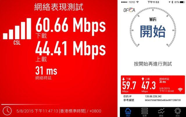 在家裏測試,可以看到華為 e5786 速度和 iPhone 5s 差不多