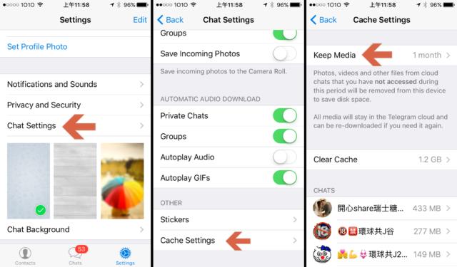 Telegram change cache settings