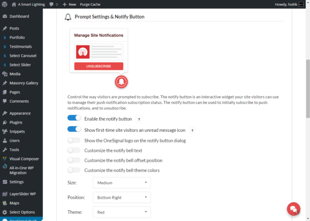 onesignal plugin prompt settings notify button
