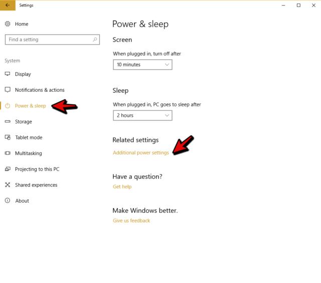 wol additional power settings