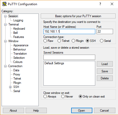 putty login asus router