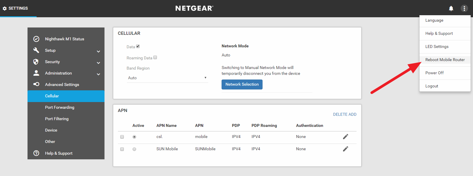 Netgear M1 web interface reboot